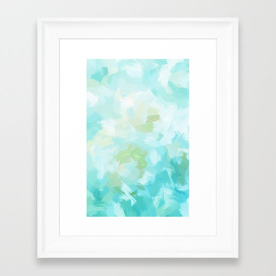 BLOSSOMS - CYAN Framed Art Print