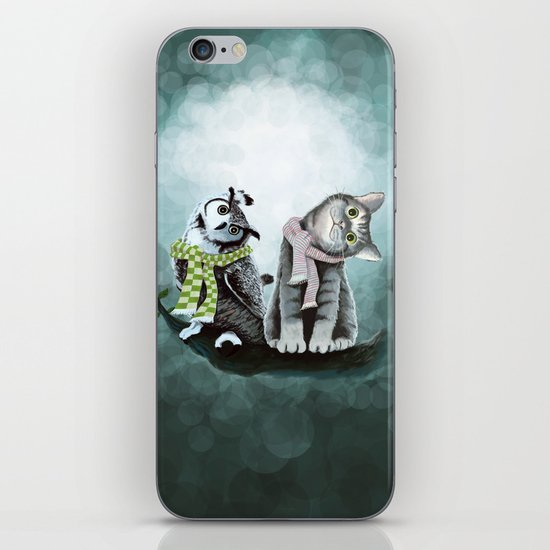 Cat and Owl iPhone & iPod Skin