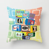 Vintage Hot censored girl on TV Throw Pillow
