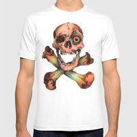 Skull in Color Mens Fitted Tee White SMALL