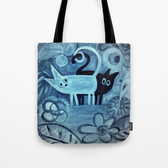 cats in blue  Tote Bag