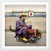 Barkin' Down the Highway! Art Print