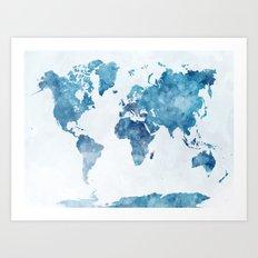 World map in watercolor. Art Print