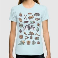 Lets Go Camping Womens Fitted Tee Light Blue SMALL
