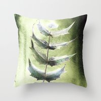 Frozen Mahonia Throw Pillow