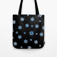 Snowflakes (Blue & White on Black) Tote Bag