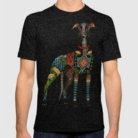 greyhound white Mens Fitted Tee Tri-Black SMALL