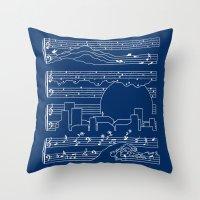 The Moonlight Sonata Blue Throw Pillow