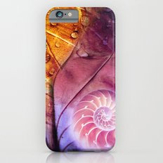 SHELTERED - Conceptual Composing with shell, leaf and waterdrops iPhone 6 Slim Case
