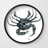 Crab, nautical art, seashore creatures, crab watercolor, natural crab painting, crab pillows,  Wall Clock