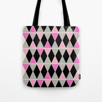 Triangles and lines (pink & grey) Tote Bag