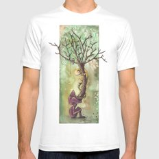 TREE SMALL White Mens Fitted Tee