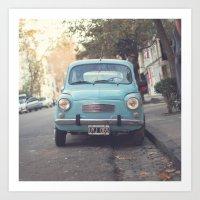 Mint - Blue Retro Fiat C… Art Print