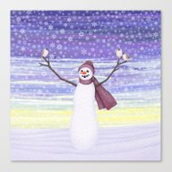 Snowman With Tufted Titm… Canvas Print
