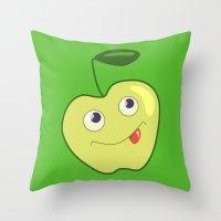 Cute Smliing Green Carto… Throw Pillow