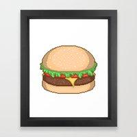 Cheeseburger Pixel Framed Art Print