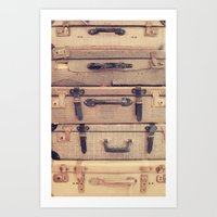 Stack of old suitcase Art Print