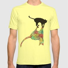 The Cat and Its Shadow Mens Fitted Tee Lemon SMALL