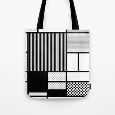 Composition With Black, Dots, Stripes & Black Tote Bag