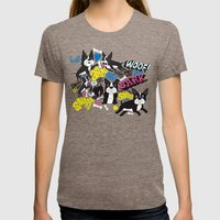 Boston Terrier Pattern Womens Fitted Tee Tri-Coffee SMALL