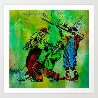 Jazzy Clowns Art Print