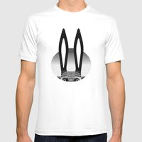 Peekaboo Rabbit Mens Fitted Tee White SMALL