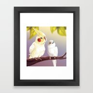 Budgie And Cockatiel Framed Art Print