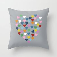 Hearts Heart Multi Grey Throw Pillow