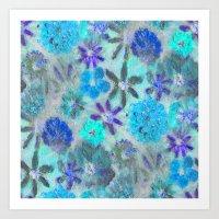 Aqua Blue Flower Power Art Print