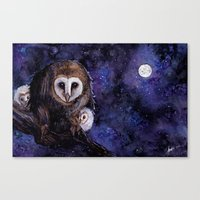 Baby Space Owls - coffee and watercolor painting Canvas Print