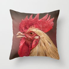 red and white hen coq Throw Pillow