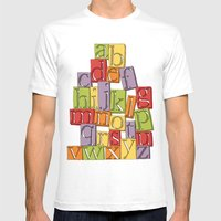 ABC Block Mens Fitted Tee White SMALL