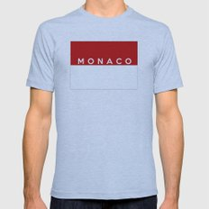 Monaco country flag name text Mens Fitted Tee Athletic Blue SMALL