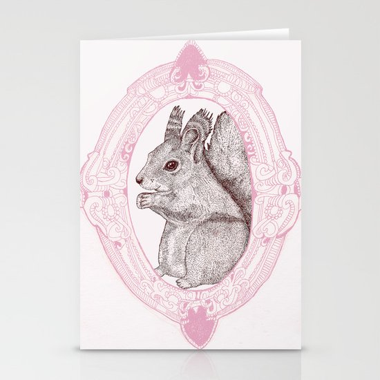 Cameo Squirrel Stationery Card