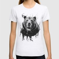 DARK BEAR Womens Fitted Tee Ash Grey SMALL