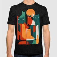 Cat Family Mens Fitted Tee Tri-Black SMALL