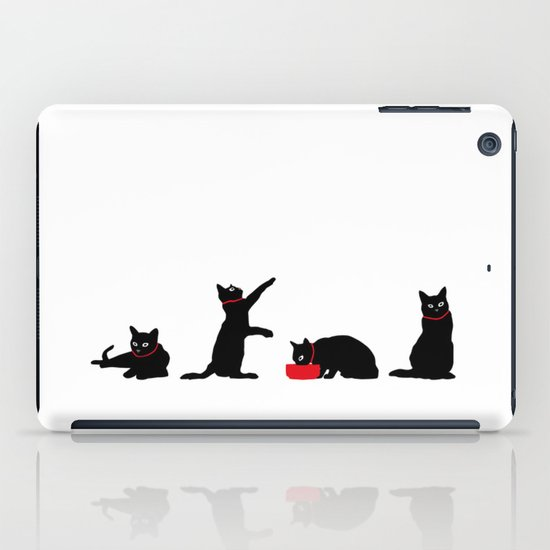 Cats Black on White iPad Case