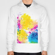 Blue Yellow Abstract Wat… Hoody