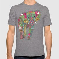 Painted Elephant Pink Mens Fitted Tee Tri-Grey SMALL