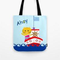 Greek Cat on Sail Tote Bag