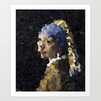 Pixelated Girl With A Pe… Art Print