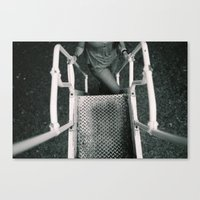 Girl Going Up Stairs Canvas Print
