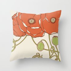 Graphic Poppies Throw Pillow