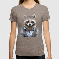 Racoon Womens Fitted Tee Tri-Coffee SMALL