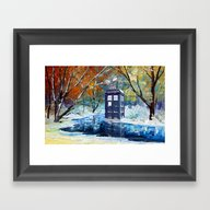 Starry Winter Blue Phone… Framed Art Print