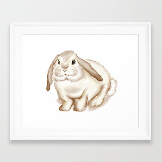 Watercolor Bunny Framed Art Print
