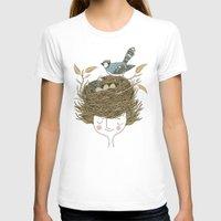 hair T-shirts featuring Bird Hair Day by Monica Gifford