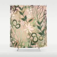 Detailed Square Of Peach… Shower Curtain