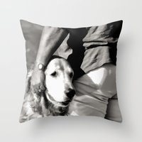 B&W Beach Scene 5 Throw Pillow