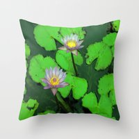 Water Lily Painting  Throw Pillow